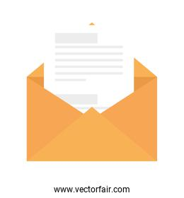 envelope open with paper isolated icon