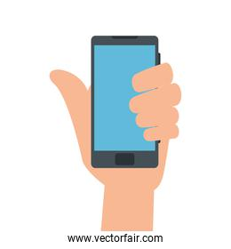 hand using smartphone device isolated icon
