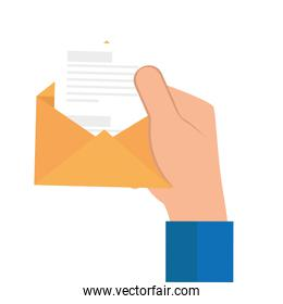 hand with envelope open with paper isolated icon
