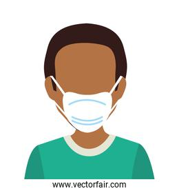 young man afro with face mask isolated icon