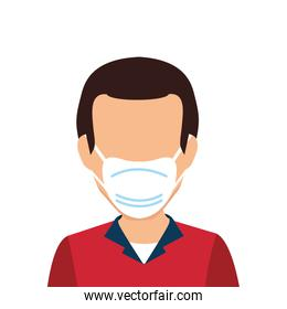 young man with face mask isolated icon