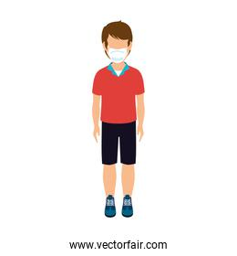 cute boy with face mask isolated icon