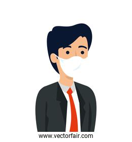 businessman with face mask isolated icon