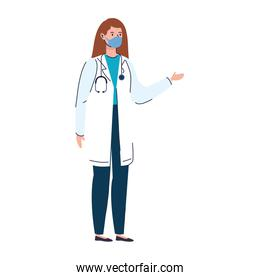 doctor female with face mask isolated icon