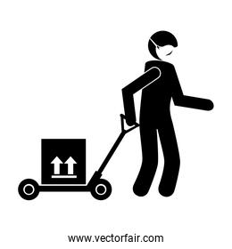 silhouette of delivery worker using face mask with box carton