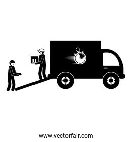 silhouette of delivery workers using face mask and truck vehicle