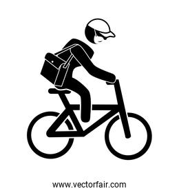 silhouette of man delivery male worker using face mask in bike