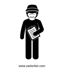 silhouette of delivery worker using face mask with checklist