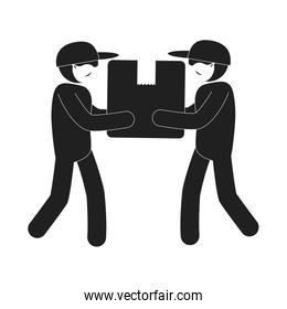 silhouette of delivery workers using face mask with box carton