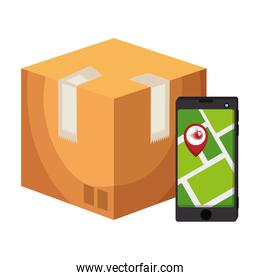 box with smartphone and location app