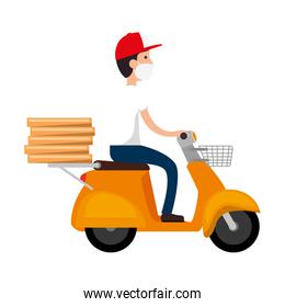 delivery worker using face mask in motorcycle with boxes pizza