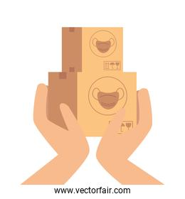 hands with boxes of face masks isolated icon