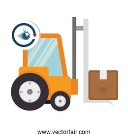 box package cargo in forklift with chronometer