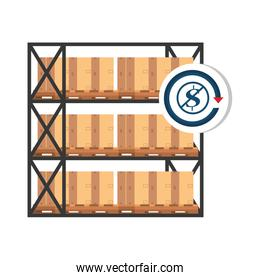 warehouse metal shelving with boxes and dollar symbol in forbidden sign