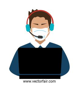 man agent call center with face mask