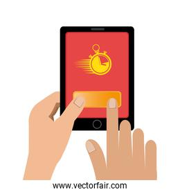 hand using smartphone with app delivery