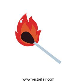 Isolated match flame flat style icon vector design