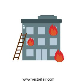 building in fire flat style icon vector design