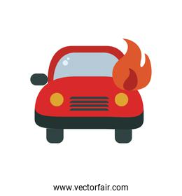 car in fire flat style icon vector design