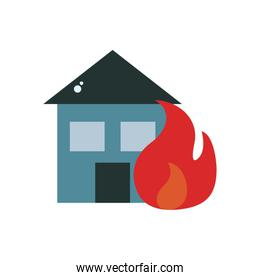 house in fire flat style icon vector design