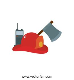 firefighter hat axe and hand radio flat style icon vector design