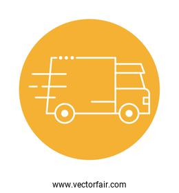 delivery van transportation block line style icon