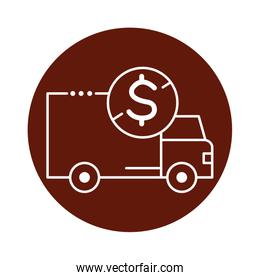 delivery van transportation with coin block line style icon