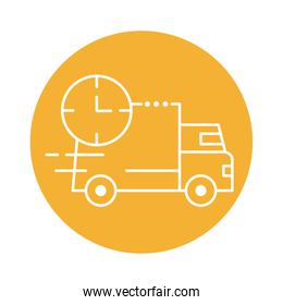 delivery van transportation with clock block line style icon
