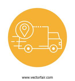 delivery van transportation with pin location block line style icon
