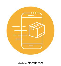 smartphone with box package block line style icon