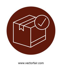 box package cargo with check symbol block line style icon