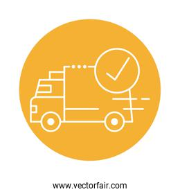 delivery van transportation with check symbol block line style icon