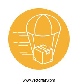 box package with parachute block line style icon