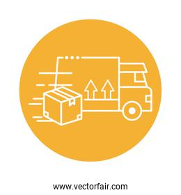 delivery van transportation with box block line style icon