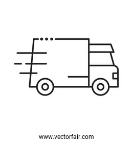 delivery van transportation line style icon