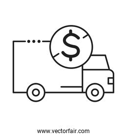 delivery van transportation with coin line style icon