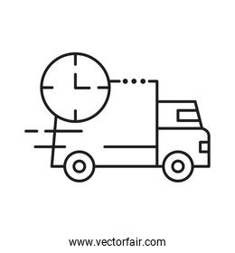 delivery van transportation with clock line style icon