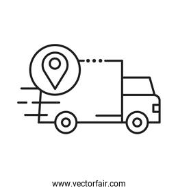 delivery van transportation with pin location line style icon