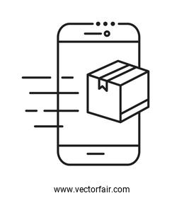 smartphone with box package line style icon