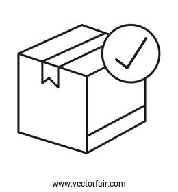 box package cargo with check symbol line style icon