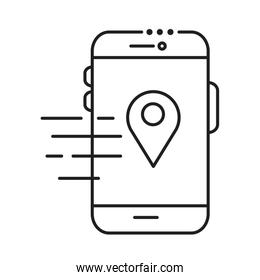 smartphone device with pin location line style design