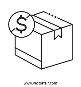 box package cargo with dollar symbol line style icon