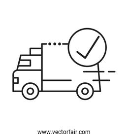delivery van transportation with check symbol line style icon