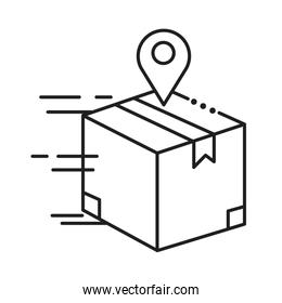 box package with pin location line style icon