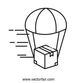 box package with parachute line style icon