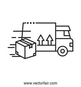delivery van transportation with box line style icon