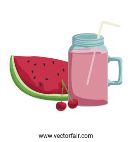 watermelon, cherries and smoothie drink, colorful