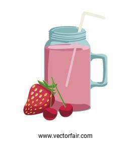 strawberry and cherries smoothie jar icon