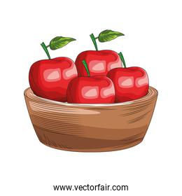 bowl with apples icon, colorful design