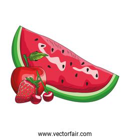 isoalted watermelon with red apple, cherries and strawberry